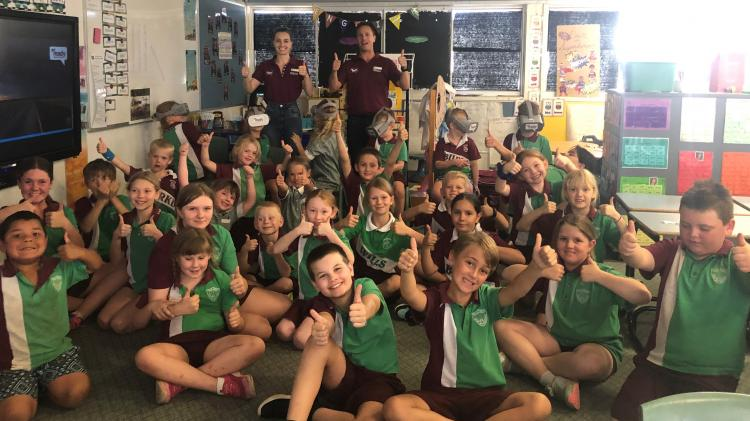 School kids with the Get Ready Queensland team