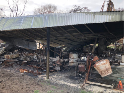Burnt out shed and equipment