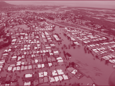 Aerial image of flooded town