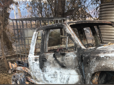 Burnt out ute