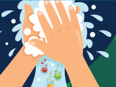 Cartoon image of hand washing